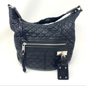 L.A.M.B. Black Leather Quilted Shoulder Bag